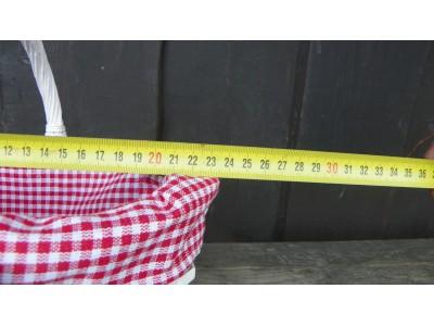 Koš Proutěný s červaným kanafasem,provence,10x40cm