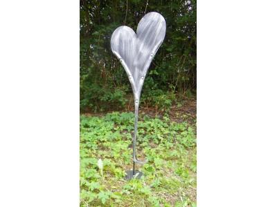 Srdce velké kovové stříbrná patina